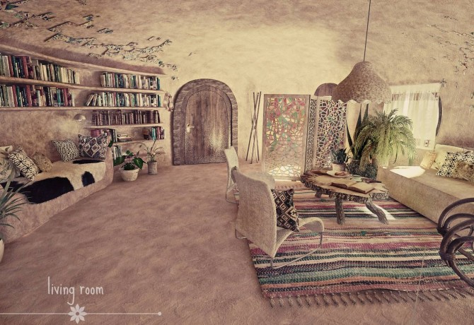 Design of natural interior in clay house
