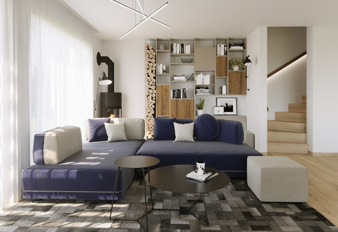 Modern living room with kitchen