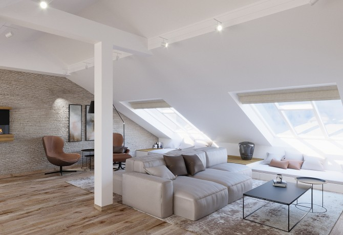 Partial design of attic apartment
