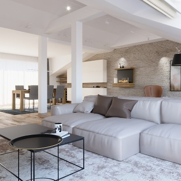 Partial design of attic apartment