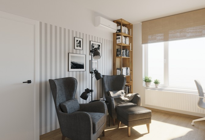 Partial design of living room and home work space